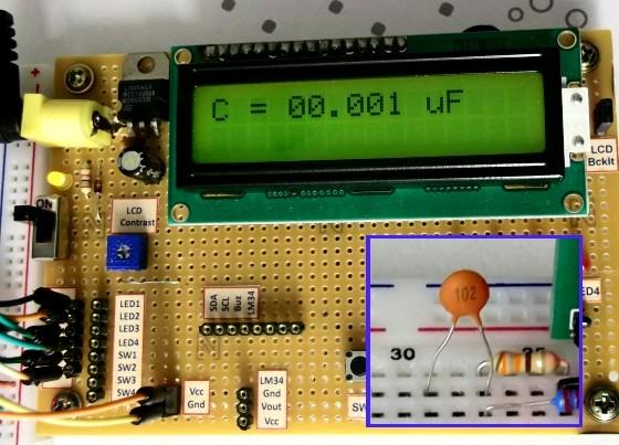 Схема Цифровой измеритель емкости на микроконтроллере 6.