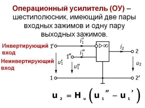 Операционный усилитель – это элемент электронного устройства. Они просты в использовании, так как легко производят расчёты и обладают прекрасными характеристиками. Другим названием такого усилителя является дифференциальный усилитель.